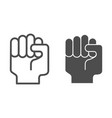 fist up line and glyph icon raised fist vector image