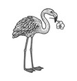 Flamingo with orchid in a beak sketch
