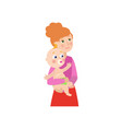 flat cartoon woman with newborn baby vector image vector image