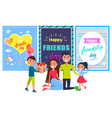 friends day banner with boy giving present parents vector image vector image