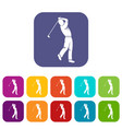 golf player icons set flat vector image vector image
