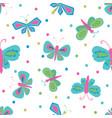 green pink blue butterflies repeat design vector image