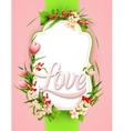 Greeting card with colorful flower background vector image vector image