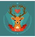 Greeting card with deer on blue vector image