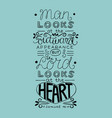 hand lettering man looks at the outward appearance vector image