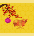 happy chinese new year - 2019 text and pig zodiac vector image vector image