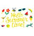 hello summer time lettering beach banner vector image vector image
