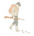 hunter with gun or rifle and backpack huntsman vector image vector image