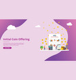 ico initial coin offering concept with people vector image vector image