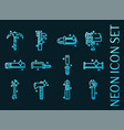instruments set icons blue glowing neon style vector image
