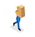 isometric man in uniform has many cardboard boxes vector image