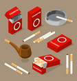 isometric of cigarettes and vector image vector image