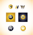 Letter w logo sphere icon set vector image