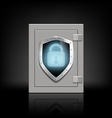 metal safe with a shield which depicts a lock vector image vector image
