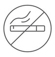 no smoking thin line icon smoke and warning vector image vector image