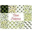 Olive fruits with oil seamless patterns set vector image vector image