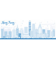 outline hong kong skyline with blue buildings vector image vector image