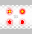 pain red circle set medical rings collection vector image