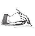 penmanship with pen vintage engraving vector image vector image