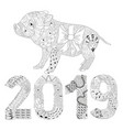 piggy coloring book with number 2019 for adults vector image vector image