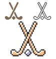 pixel icon field hockey in three variants vector image vector image