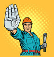 plumber gesture stop vector image