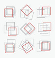 red and gray square shape frames set emblems vector image