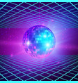 retro background with laser rays and mirror ball vector image vector image