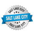 salt lake city round silver badge with blue ribbon vector image vector image
