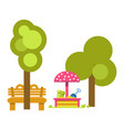 sandbox for children near green trees and wooden vector image