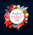 seafood poster template with crab vector image vector image