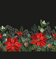 seamless border with poinsettia pines vector image vector image