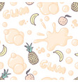 seamless pattern with multifruit bubble gum vector image vector image