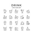 set line icons of drink vector image vector image
