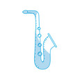 silhouette saxophone musical instrument to play vector image vector image