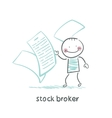 stock broker with documents vector image vector image