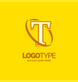 t logo template yellow background circle brand vector image vector image