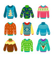 ugly christmas sweater knitted jumpers with vector image
