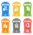 various colors separated garbage bins solid icons vector image vector image