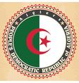 vintage label cards of algeria flag
