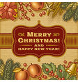 Vintage Merry Christmas Card vector image vector image