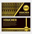 voucher certificate golden template vector image vector image