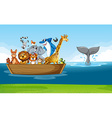 Wild animals riding on wooden boat vector image vector image