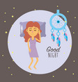 woman sleeping and taking good night vector image vector image