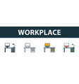 workplace icon set four elements in diferent vector image vector image