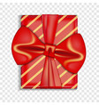 xmas red gift box icon realistic style vector image vector image