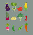 funny vegetable faces vector image