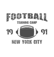 american football new york training camp badge vector image vector image
