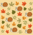 autumn seamless pattern with leaves and snails vector image vector image