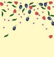 background with blueberries strawberrieplums vector image